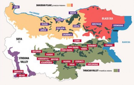 Carte des cépages de Bulgarie